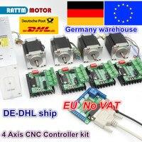 EU 4 Achsen CNC Router Kit 4 stücke 1 achse TB6560 fahrer & interface board & 4 stücke Nema23 270Oz-in stepper motor & 350W netzteil