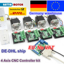 EU 4 Axis CNC Router Kit 4pcs 1 axis TB6560 driver & interface board & 4pcs Nema23 270Oz-in stepper motor & 350W Power supply free shipping cnc 4 axis 3 5a tb6560 stepper motor driver controller board kit for nema23 two phase 3a stepper motor