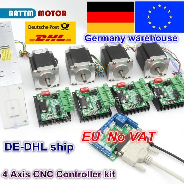 EU 4 Axis CNC Router Kit 4pcs 1 axis TB6560 driver & interface board & 4pcs Nema23 270Oz in stepper motor & 350W Power supply