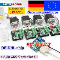 EU 4 Axis CNC Router Kit 4pcs 1 axis TB6560 driver & interface board & 4pcs Nema23 270Oz-in stepper motor & 350W Power supply