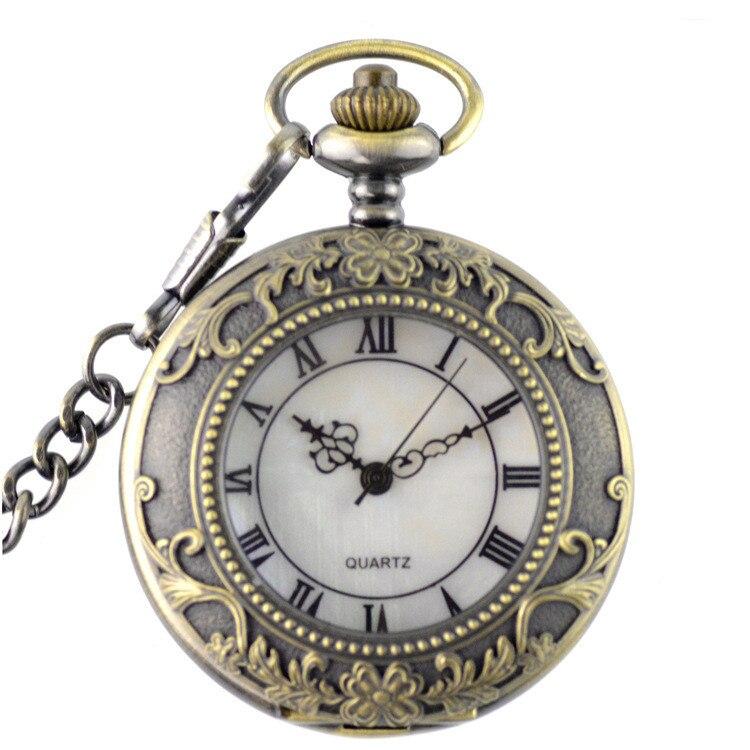 Mens Pocket Watch Chain 37.5CM Black Color Roman Words Pointer Ancient Memorial Clock Mens Pocket Watch Steampunk Skeleton