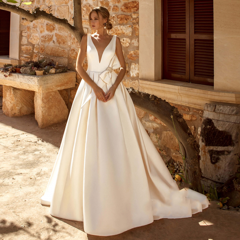 Verngo A-line Wedding Dress Ivory Satin Wedding Dress With A Bow Simple Bride Dress Backless Weeding Gowns Robe De Mariee 2019