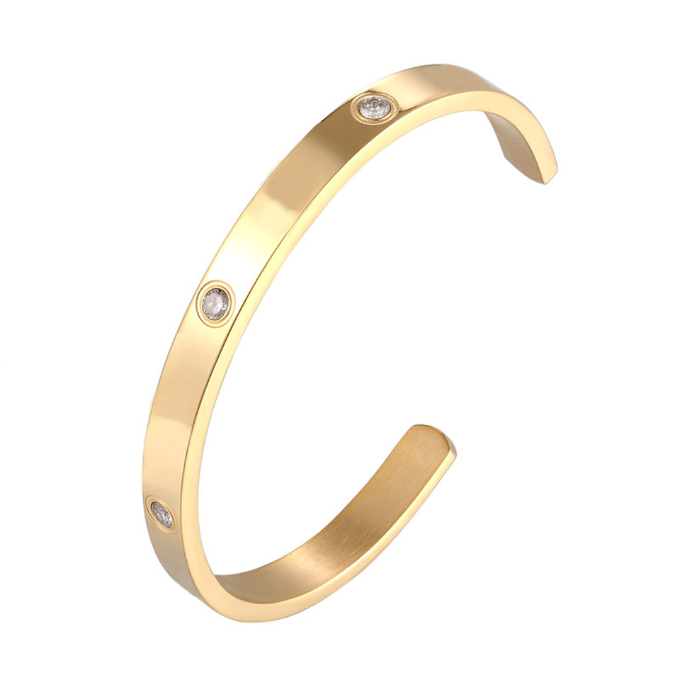 Fashion Classic Crystal Cuff Bracelet for Women/Men Gold Color Stainless Steel Bracelets & Bangles Couple Love Jewelry Best Gift 1