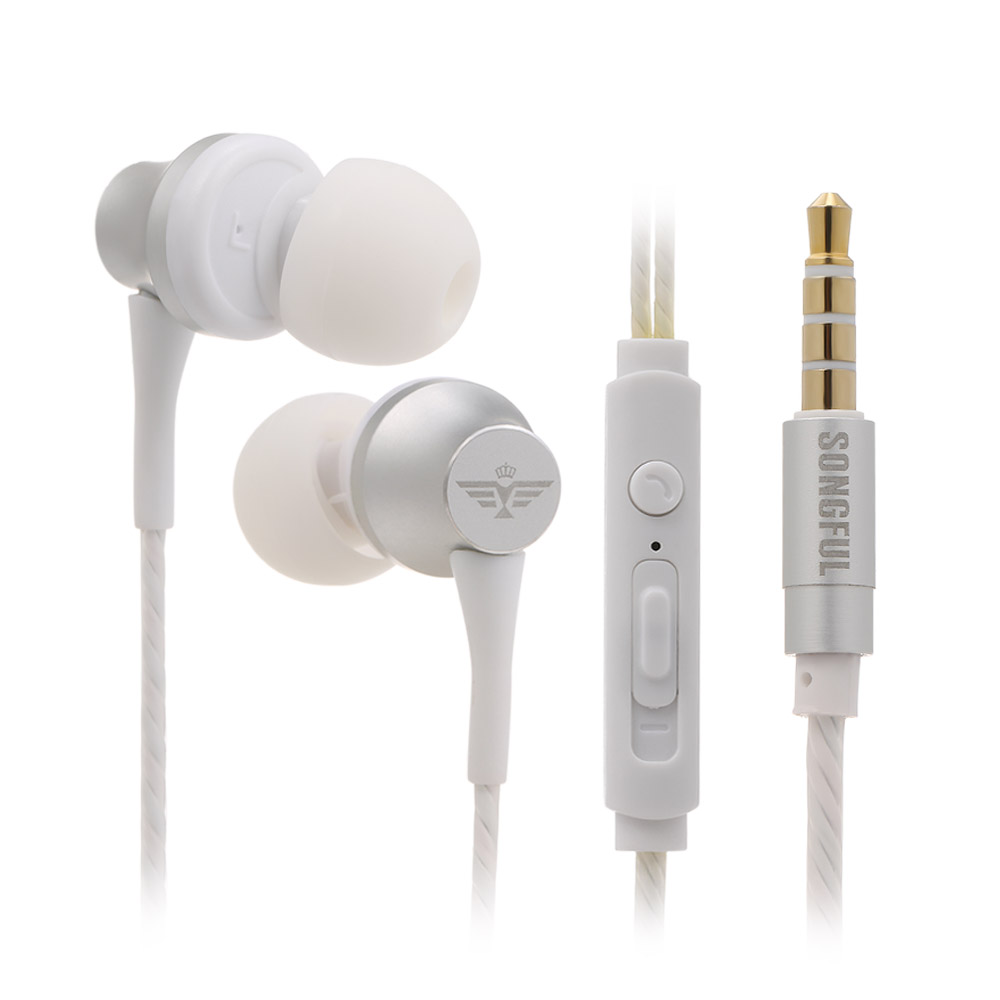 3.5mm In Ear Headphones Wired Earbuds Music Earphone with Mic Adjustable Volume In-ear Wired Headset For Phone