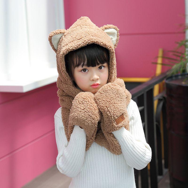 2020 Toddler Kids 3 In 1 Warm Winter Hat Cute Animal Ears Scarf Gloves Earflap Cap