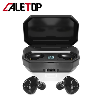 CALETOP TWS Support Aptx ACC True Wirless Bluetooth 5.0 Earphone Noise Reduction Earphone with LED Power Display Charging Case