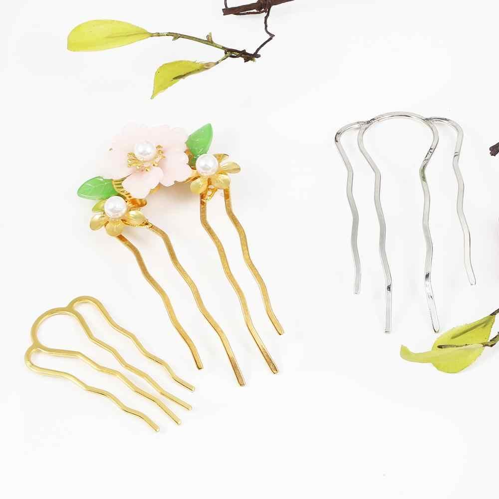 Diy artesanal de prata ouro 4 dentes cabelo vara pente acessórios para o cabelo hairpin barrette base em branco para fazer jóias noiva tiaras