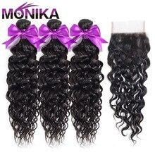 Monika 髪閉鎖とペルーの毛水波バンドルと閉鎖非レミー天然のヒト毛織り 3 バンドルと閉鎖