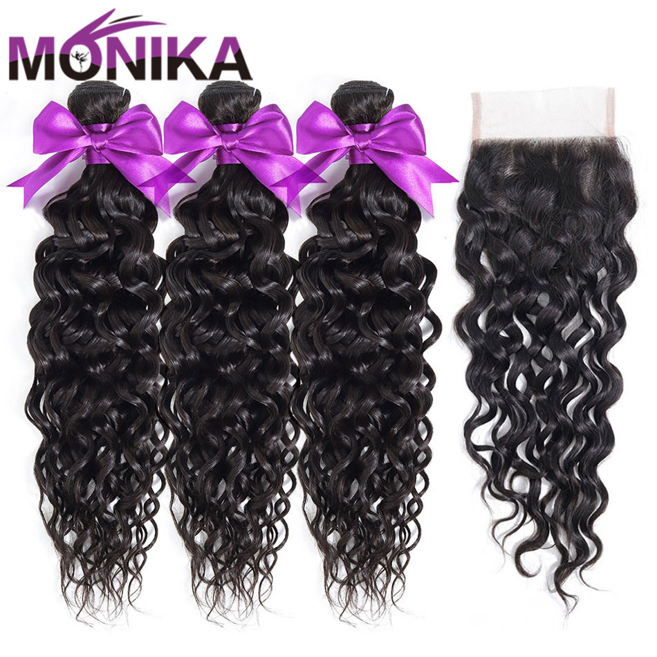 Monika Hair Peruvian Hair With Closure Water Wave Bundles With Closure Non-Remy Natural Human Hair Weave 3 Bundles With Closure