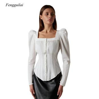 Fashion Square Collar Ruched Women Blouse Shirt Single-Breasted Button Puff Sleeve Office Lady Blouse Top Elegant Female Blouse solid ruched detail blouse