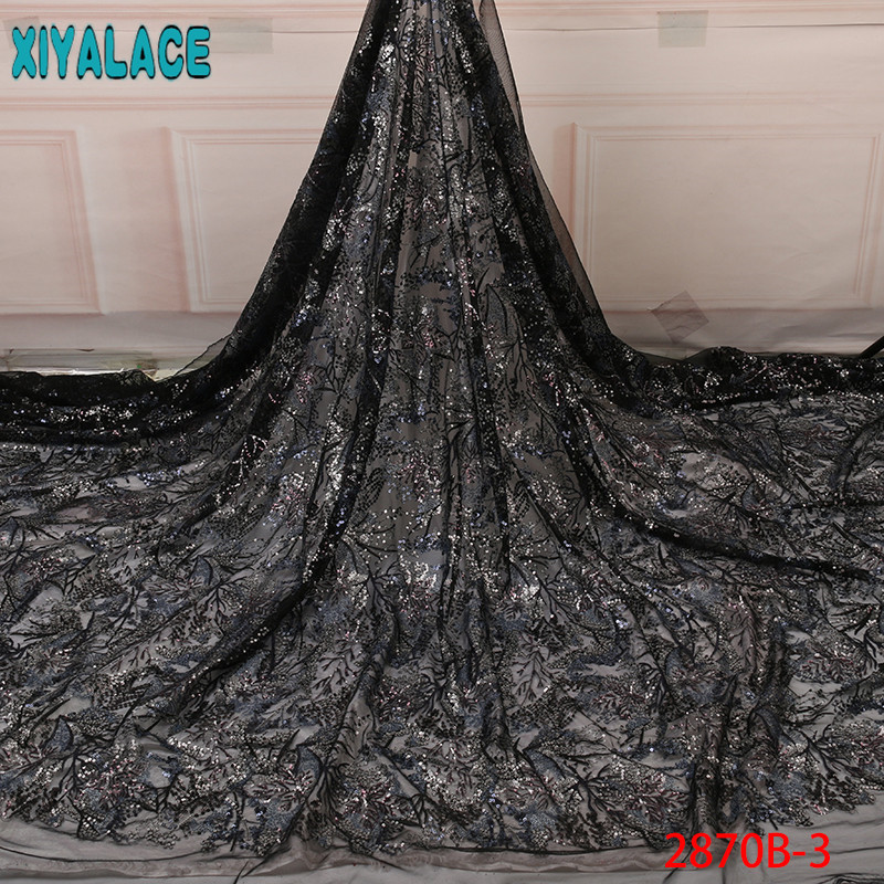 African Sequin Lace Fabric 2019 High Quality Lace, Latest Net Lace Fabric Colorful Sequins for Wedding KS2870B-3