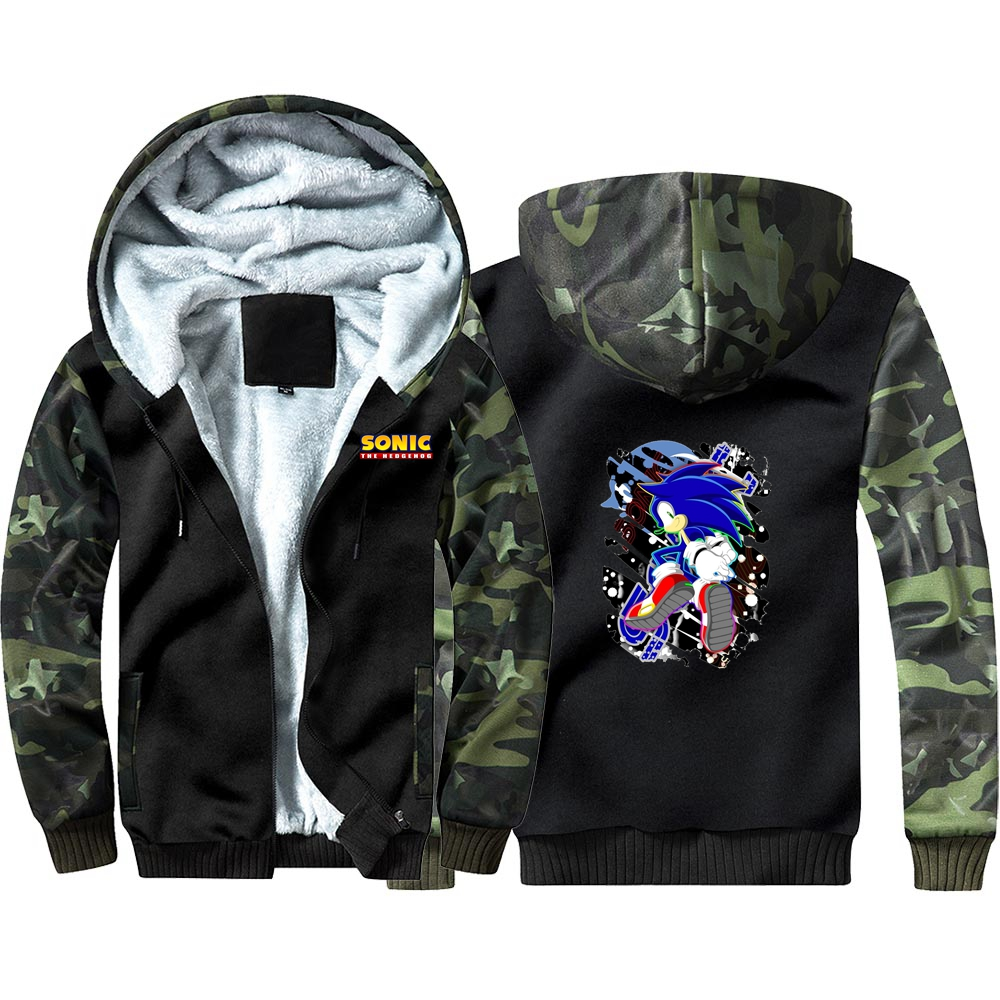 New Game Sonic The Hedgehog Thicken Hoodie Sweatshirts Winter Coat Cosplay Costume Anime Thicken Warm Hooded Men Clothing