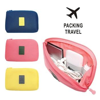 Caja de almacenamiento de viaje para cable de datos digitales cargador de auriculares portátil de malla bolsa de esponja banco de energía titular neceser cosmético