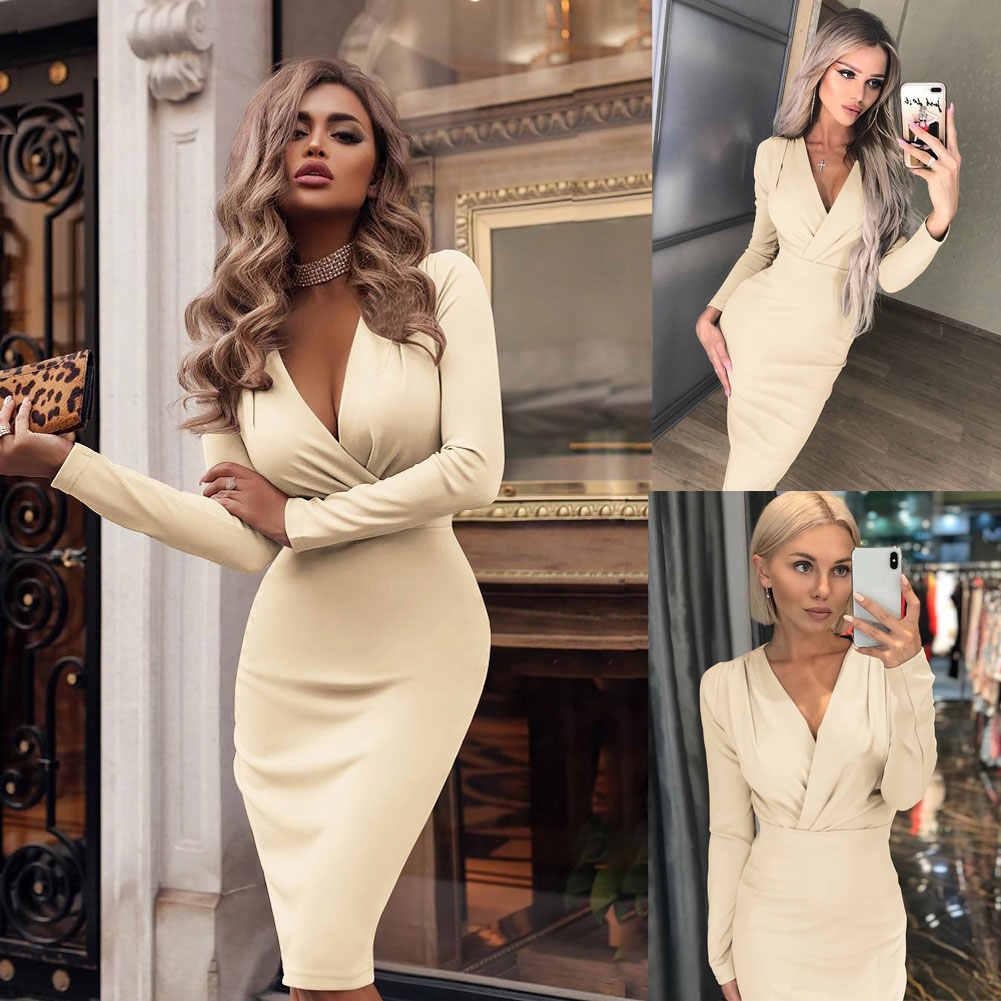 2020 Mode Vrouwen Zomer Lange Mouwen Bandage Stretch Bodycon Plain Diepe V Avond Party Korte Jurk Beige Zwart Groen Rood hot
