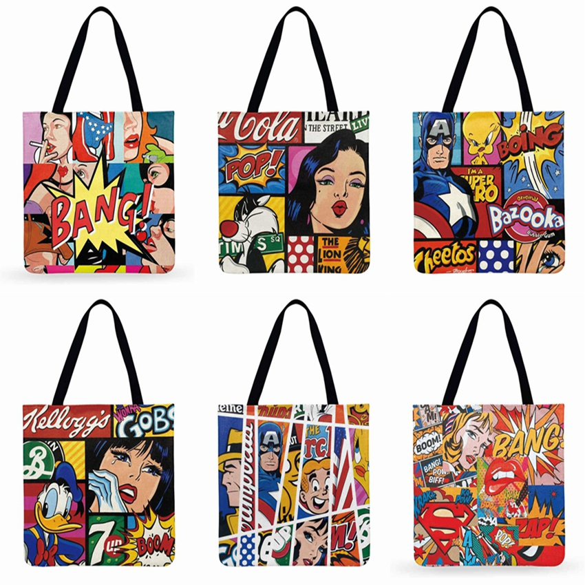 Cartoon Animation Printed Tote Bag For Women Pop Marvel Casual Tote Foldable Shopping Bag Reusable Beach Bag Shoulder Bag