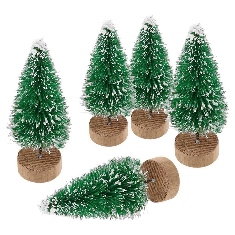 10pcs Artificial Mini Christmas Tree Sisal Snow Frost Ornaments with Wooden Base for Christmas Party Home Decoration