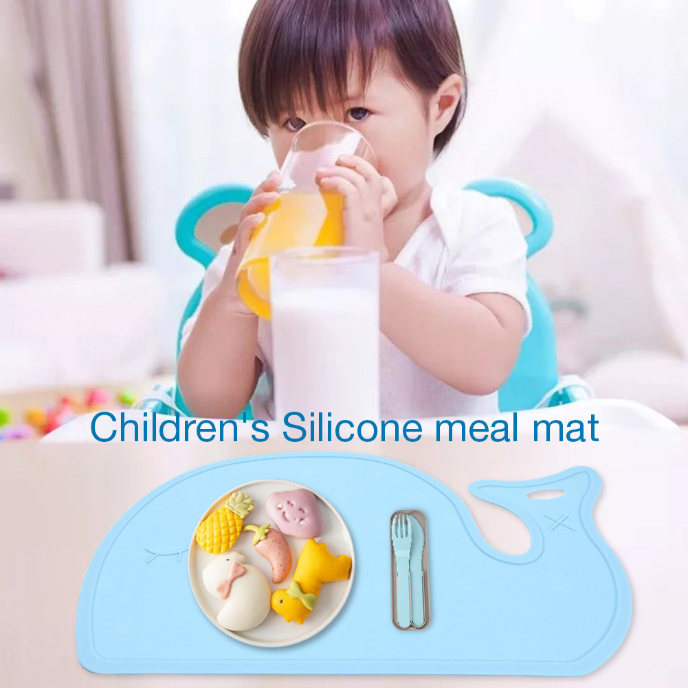 Non-slip Baby Placemat Cute Whale Shaped Silicone Placemats BPA Free Kids Placemat Baby Feeding Easy Cleaning Tableware Pads