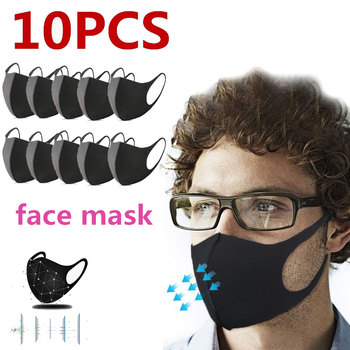10/30pcs Fashion Black Cloth PM2.5 Washable Face Masks Anti Haze Dust Mask Nose Filter Windproof Mouth Muffle Flu Respirator