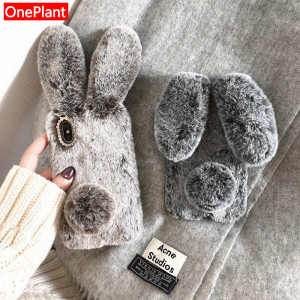 3D Cute Rabbit Ears Furry phone case For iPhone 5S 6 7 8 Plus X XR XS MAX 11 Pro Hairy Warm For Samsung S8 S9 S10 Note10 9 Cover(China)