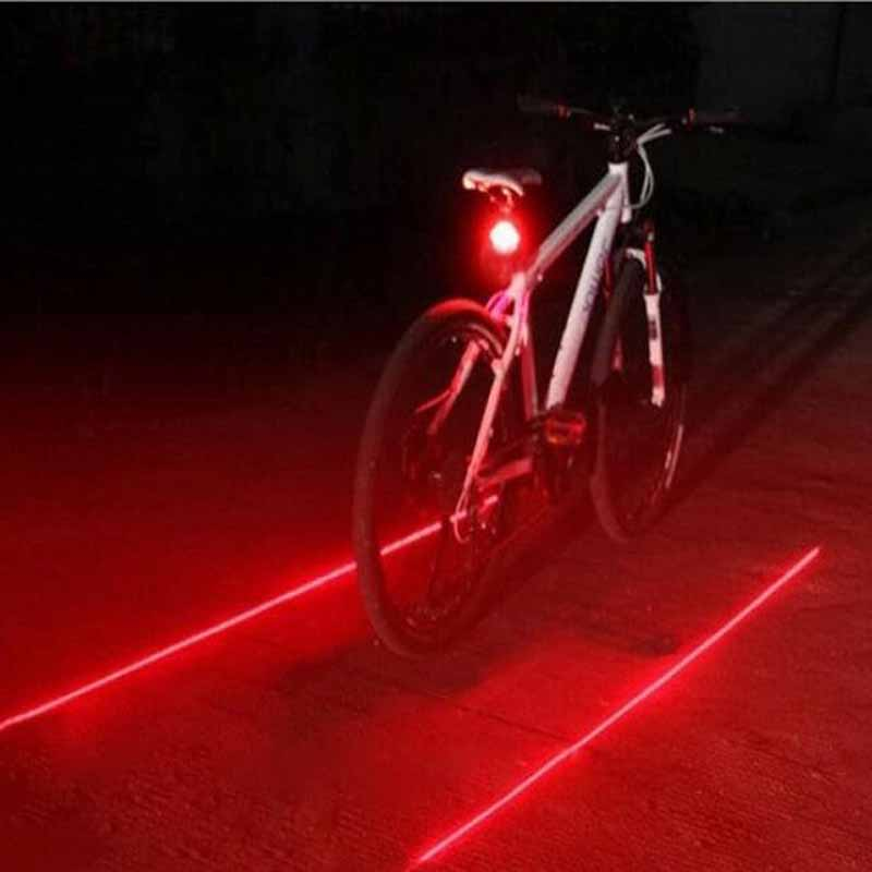 Bike Lights Safety Warning Light Waterproof 5 LED 2 Lasers 3 Modes Bike Taillight Bicycle Rear Light Tail Lamp Red Parallel Line|Bicycle Light|Sports & Entertainment - title=