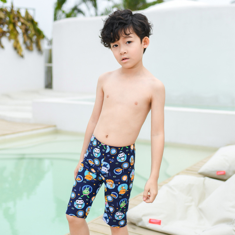 New Style Cartoon-Style KID'S Swimwear BOY'S AussieBum Grid Joint Hot Springs Pants Beach Play With Water Swimming Pants