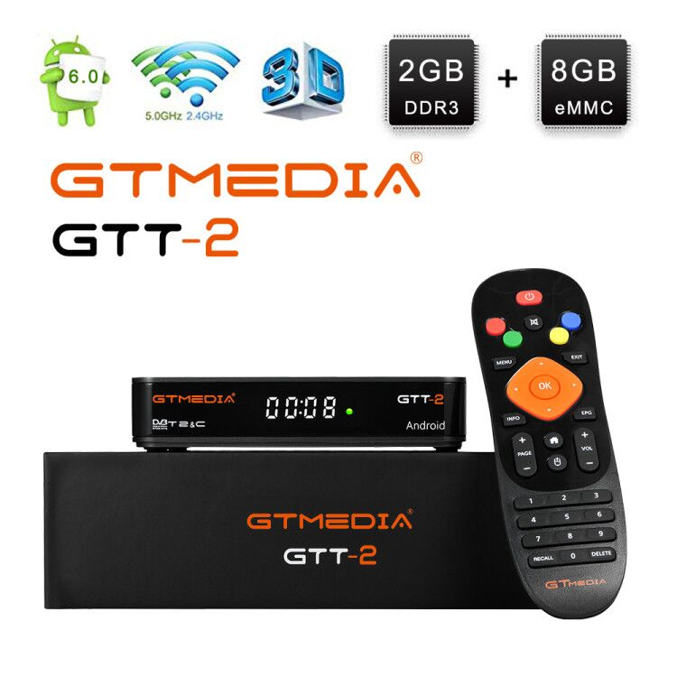 Gtmedia GTT2 Android 6.0 Satellite Receiver DVB-T2/cable/ISDBT Amlogic S905D 2+8GB H.265 Built-in WIFI 2.4G+1 Year CCcam TV Box