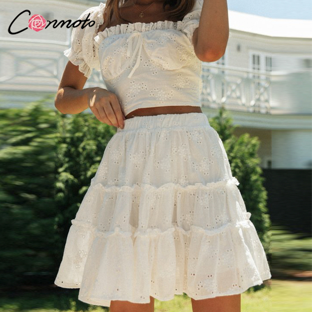 Conmoto Roman holiday style two pieces ruffled women set summer Romantic puff sleeve top and embroidery skirt Bow sash slim suit 2