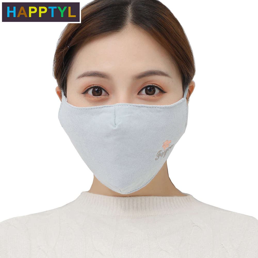 HAPPTYL 1Pcs Women Face Mouth Mask Winter Warm Cotton Windproof Washable Adjustable Earloop Respirator