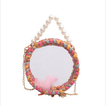 Women Mini Woven Bags For Wowan Round Transparent Bag Pvc Pearl Crossbody Female Fashion Handbags Handmade Jelly Womens Shoulder Pouch