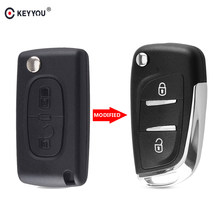 KEYYOU-funda de llave para coche, carcasa de llave remota plegable con 2 botones, CE0536, para Peugeot 107, 207, 307, 307S, 308, 407, 607