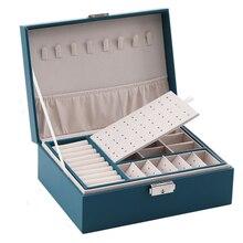PU Leder Schmuck Lagerung Box Tragbare Europäischen-Stil Multi-Funktion Verpackung Box Mit Schublade Winter Geschenk