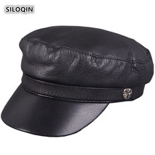 SILOQIN Mens Flat Cap Genuine Leather Hat Woman Winter Keep Warm Quality Sheep Skin Military Hats Leisure Tourism Snapback Caps