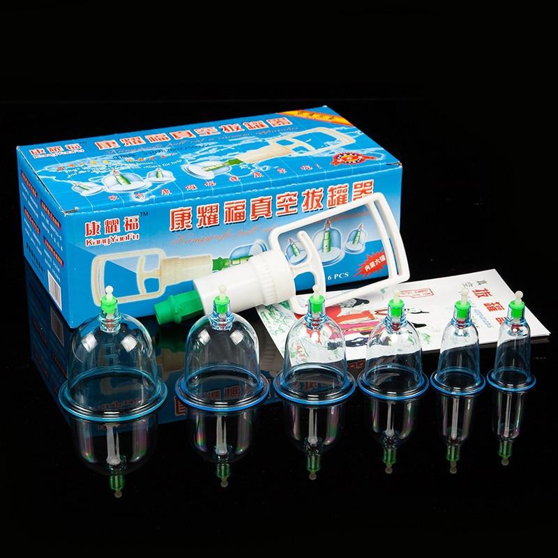 6 pçs latas copos de vácuo chinês cupping kit puxar para fora aparelho de vácuo terapia relaxar massageadores sucção bombas ferramentas cuidados com a saúde