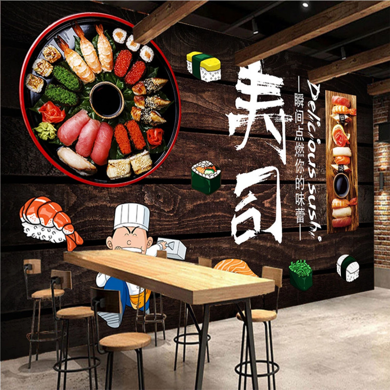 Dark Brown Wooden Planks Background Wall Paper 3D Japanese Cuisine Restaurant Sushi Store Industrial Decor Mural Wallpaper