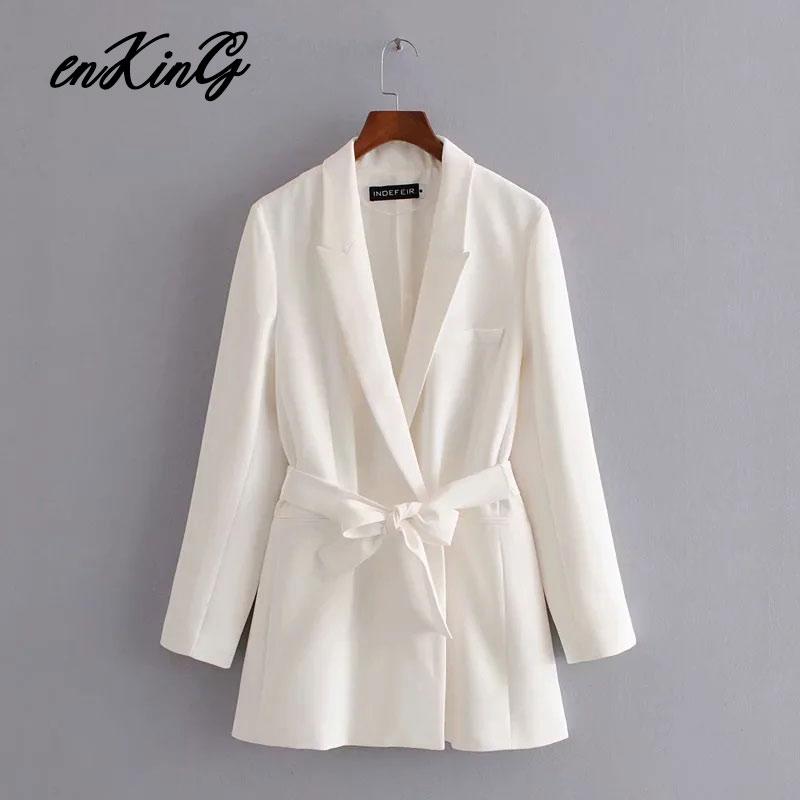 2020 spring england office lady simple sashes white blazer feminino blazer women blazer mujer 2020 women blazers and jackets