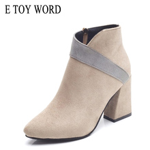 E TOY WORD Booties Female 2019 New pointed toe square Heel Martin boots British style Women wild black Ankle boots Autumn Shoes недорого