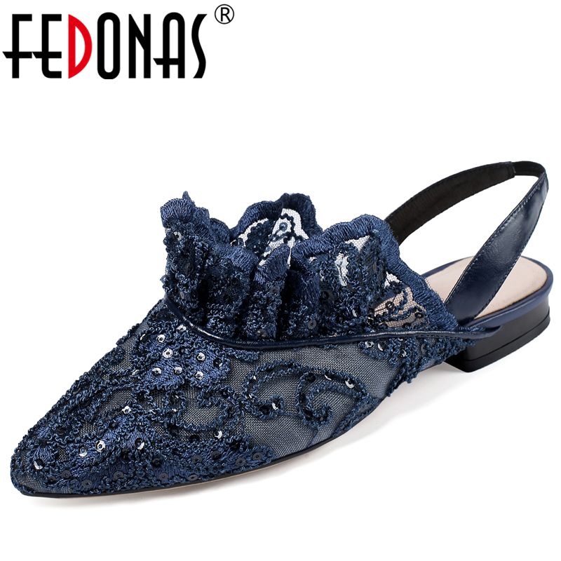 FEDONAS 2020 Spring Summer Elegant Retro Lolita Women Shoes Embroider Mesh Sequined Lace Ruffles Low Heel Back Strap Shoes Woman