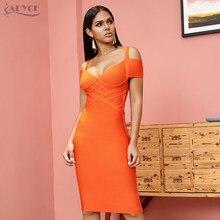 ADYCE nouveau été robe de pansement femmes Vestidos 2020 Sexy Orange col en V épaules nues moulante Club robe Midi célébrité robe de fête