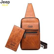 JEEP BULUO marka moda askılı çanta yüksek kaliteli erkek çanta bölünmüş deri büyük boy omuz Crossbody çanta genç adam için