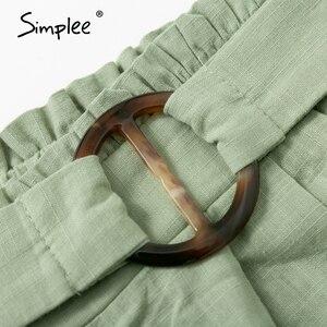 Image 5 - Simplee מקרית נשים גבוהה מותן מכנסיים מוצק ירוק קיץ חוף סגנון נופש גבירותיי מכנסיים קצרים כיס טבעת blet אבנט קפלי מכנסיים