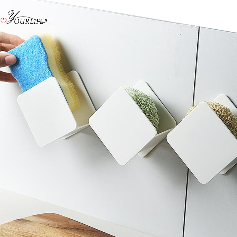 OYOURLIFE Kitchen Sink Sponge Holder Wall Mounted Sink Sponges Sundries Drain Drying Rack Kitchen Sink Accessories Organizer