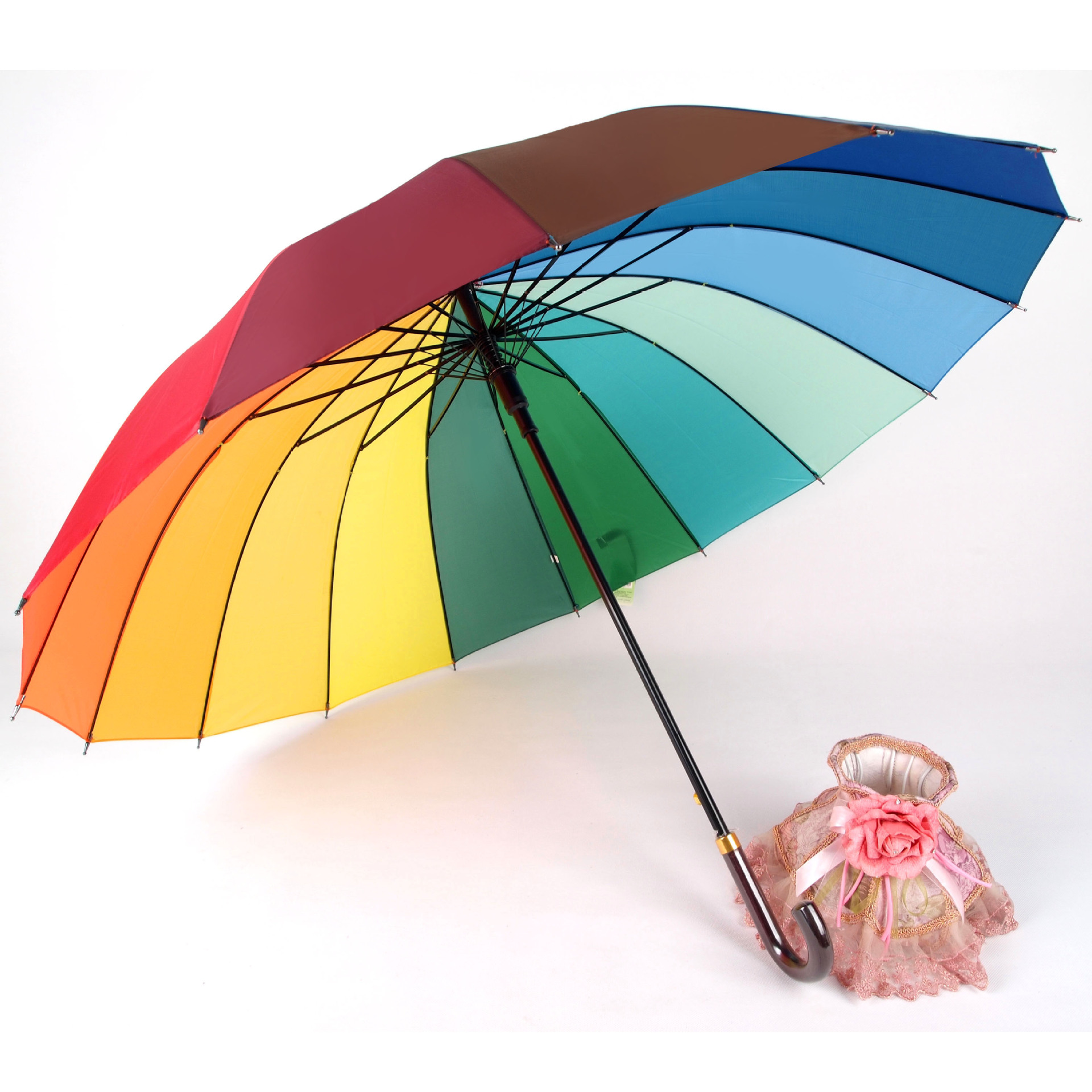 Aurora Creative Umbrella 138 UV-Protection 16K Gradient South Korea Large Rainbow Umbrella Straight Handle Advertising Umbrella