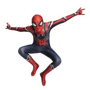 Image 5 - Hot Kids Spider Boy Costume Superhero Lycra Spider boy Cosplay Costume Zentai Halloween Costume With Mask