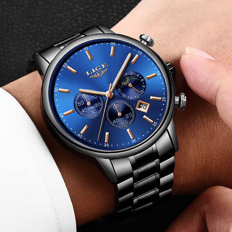 LIGE nouvelle mode hommes montre classique affaires multifonction chronographe Quartz montre-bracelet décontracté étanche en acier inoxydable horloge