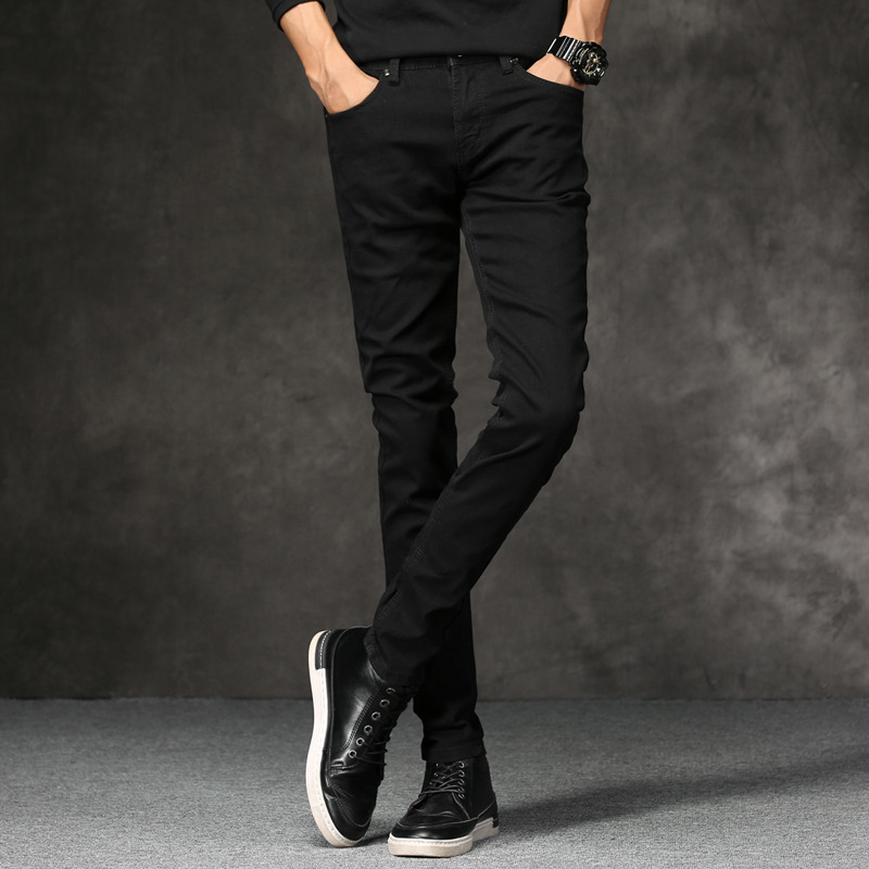 Summer Youth Black Skinny Jeans Men's Korean-style Slim Fit Slimming Jeans Thin Men's Processing