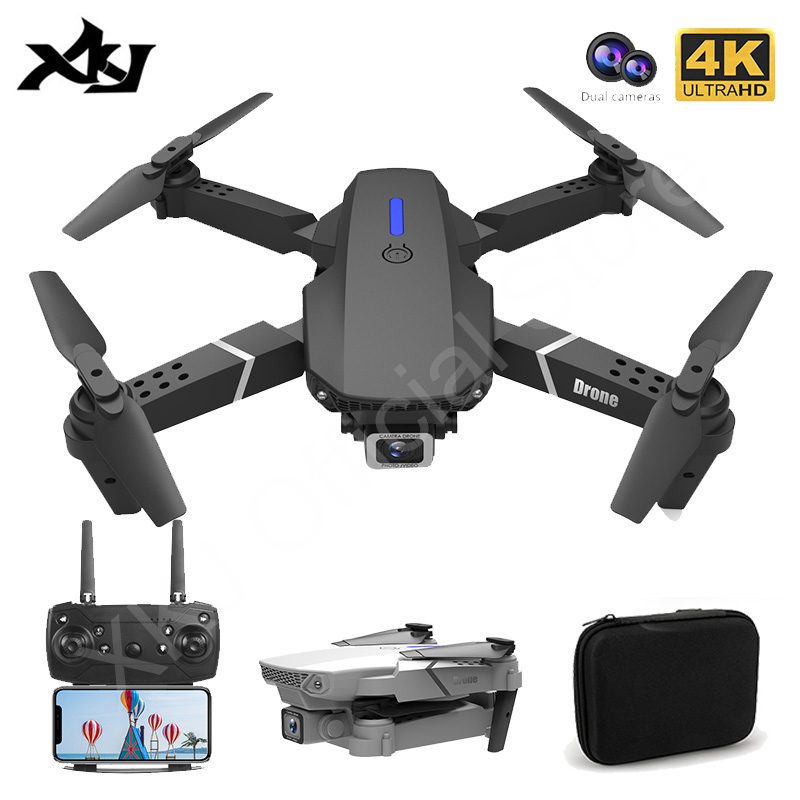 XKJ 2021 New E88 Pro Drone With Wide Angle HD 4K 1080P Dual Camera Height Hold Wifi RC Foldable Quadcopter Dron Gift Toy 1