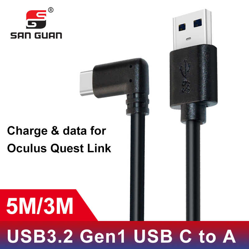 5M 3M USB-C Cable USB3.2 compatability with the Oculus Quest Link right angle type-c 3.2Gen1 Speed Data Transfer Fast Charge