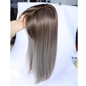 Image 2 - お気に入り合成かつらストレート亜麻シルバー 20 インチ側部強打グラデーションカラー毛先自然なサイズ調整黒人女性