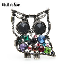 Wuli & baby Сова с кристаллами броши для женщин и мужчин Красивая