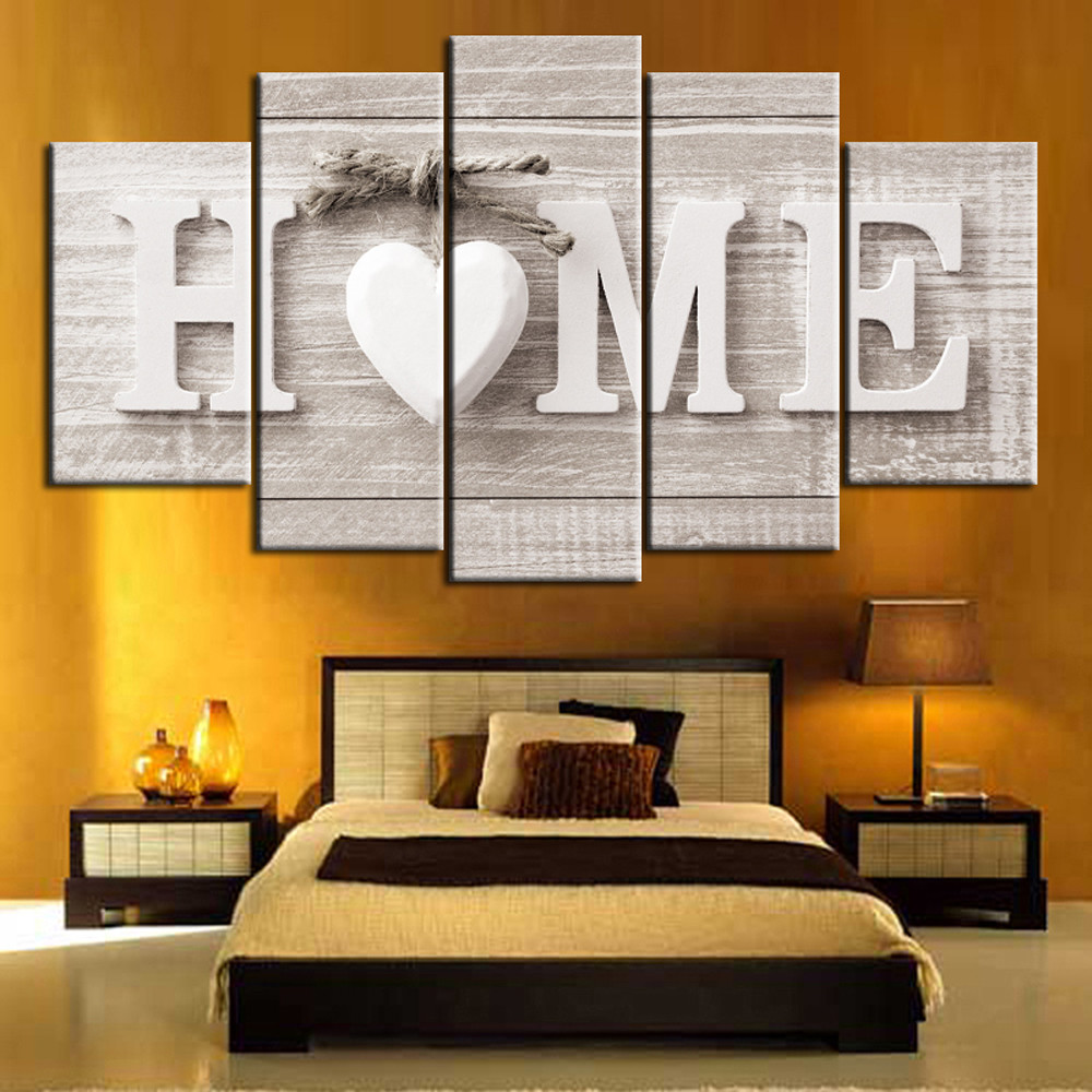 Unframed 5 Pieces Letter Canvas Painting Love HOME Wall Art Print Pictures for Home Living Room Bedroom Decor Hanging Poster